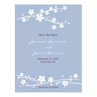 Cartão Postal Flores de cerejeira azuis