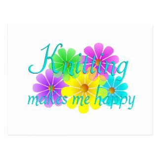 Cartão Postal Flores de confecção de malhas da felicidade