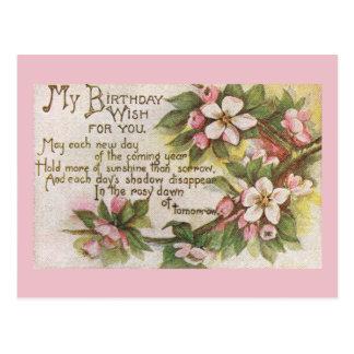 Cartão Postal Flores do aniversário do vintage