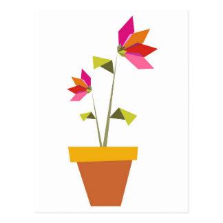Cartão Postal flores do origami em um pote