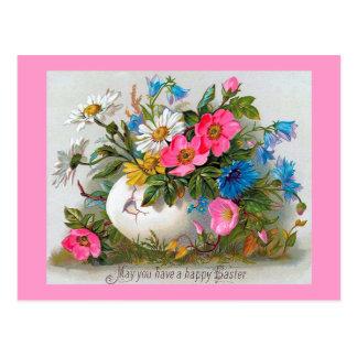 Cartão Postal Flores do vintage do buquê da páscoa