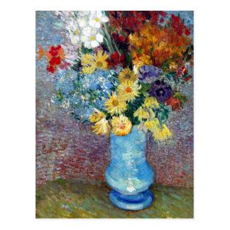 Cartão Postal Flores em um vaso azul por Vincent van Gogh