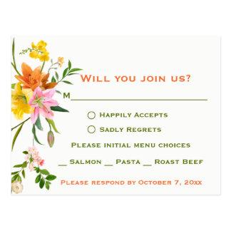 Cartão Postal Flores florais do lírio de RSVP - casamento verde