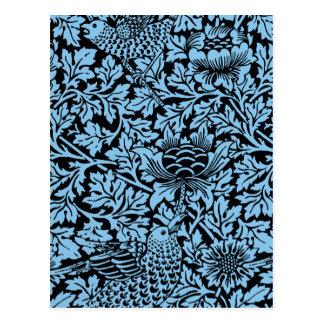 Cartão Postal Flores florais do pássaro do teste padrão de
