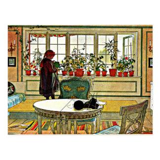 Cartão Postal Flores na pintura do Windowsill (2014 editam)