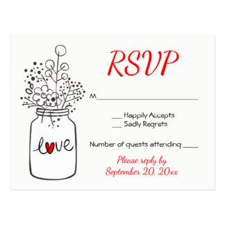 Cartão Postal Flores para casamentos pretas do frasco de