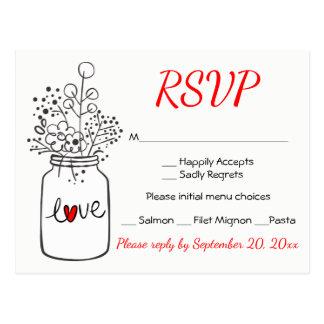 Cartão Postal Flores para casamentos rústicas do frasco de