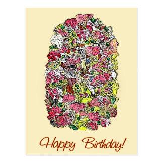 Cartão Postal Flores pintadas desejos do feliz aniversario na