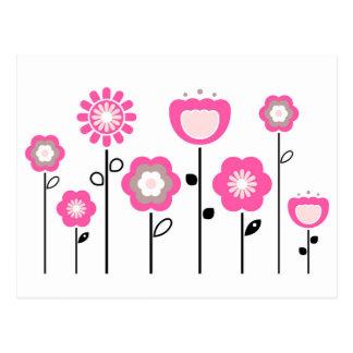 Cartão Postal Flores populares pintados mão dos desenhistas