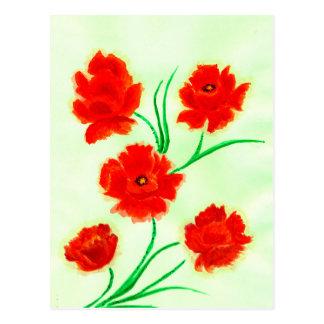 Cartão Postal Flores vermelhas da papoila