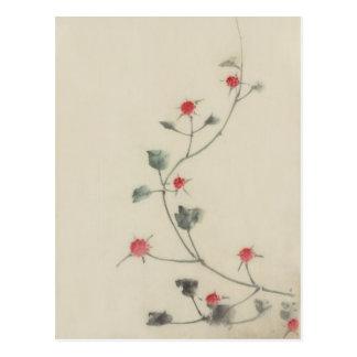 Cartão Postal Flores vermelhas em belas artes do japonês de
