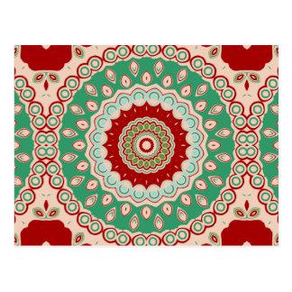 Cartão Postal Flores vermelhas, verdes & do Aqua do