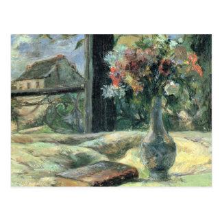 Cartão Postal Floresça no vaso na janela - Paul Gauguin