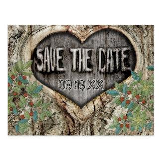 Cartão Postal Floresta que Wedding o coração rústico em