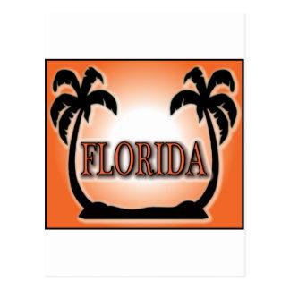 Cartão Postal Florida Airbrushed palmeiras alaranjadas do por do