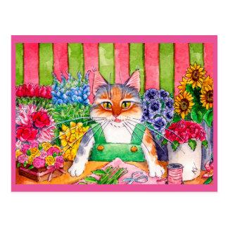 Cartão Postal Florista bonito da arte do gato
