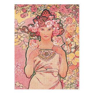 Cartão Postal Florista chique do rosa do rosa elegante