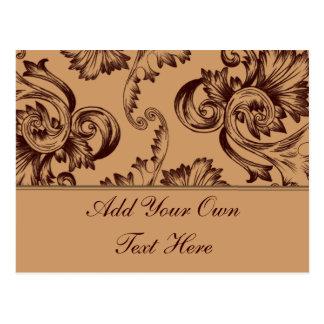 Cartão Postal Flourish do vintage (Brown escuro)