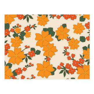 Cartão Postal [FLOW-005] Flores alaranjadas retros