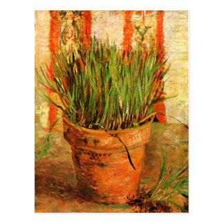 Cartão Postal Flowerpot com belas artes de Van Gogh do cebolinho