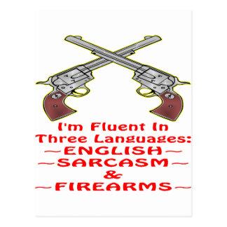 Cartão Postal Fluente em 3 armas de fogo inglesas do sarcasmo