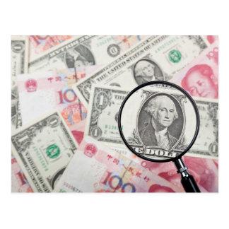 Cartão Postal Foco na moeda dos E.U.