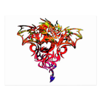 Cartão Postal Fogo abstrato que respira o dragão tribal