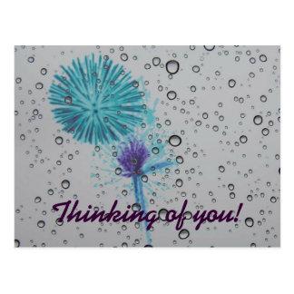 Cartão Postal Fogo-de-artifício abstrato do azul que pensa de