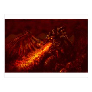 Cartão Postal Fogo de respiração do grande dragão vermelho da