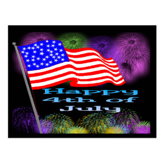 Cartão Postal Fogos-de-artifício da bandeira 4o julho