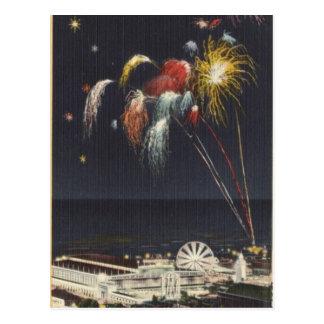 Cartão Postal Fogos-de-artifício de Coney Island