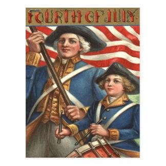 Cartão Postal Fogos-de-artifício do soldado do menino do