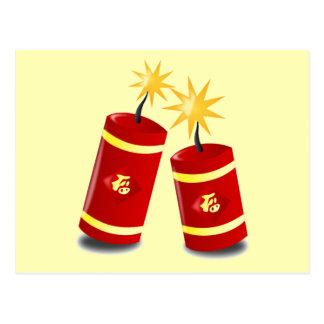 Cartão Postal Foguete de dois chineses