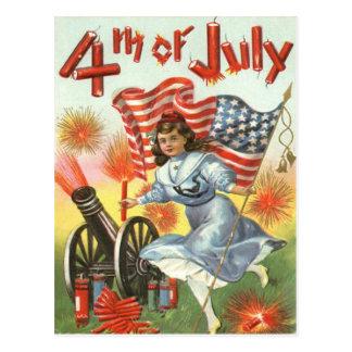 Cartão Postal Foguete dos fogos-de-artifício da menina do canhão