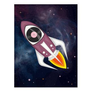 Cartão Postal Foguete musical violeta no espaço