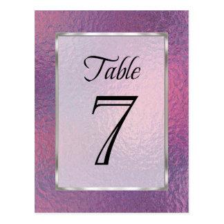 Cartão Postal Folha cor-de-rosa e roxa do número da mesa do