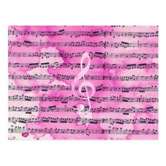 Cartão Postal Folha de música clássica do clef da aguarela