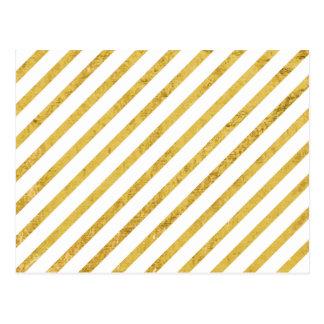 Cartão Postal Folha de ouro e teste padrão diagonal branco das