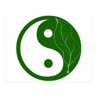Cartão Postal Folha verde Yin Yang