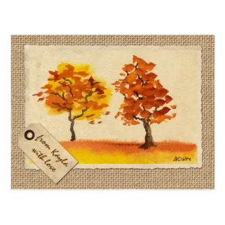 Cartão Postal Folhagem de outono de conversa dos melhores amigos