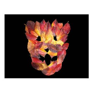 Cartão Postal Folhas de outono do Dogwood, máscara da folha