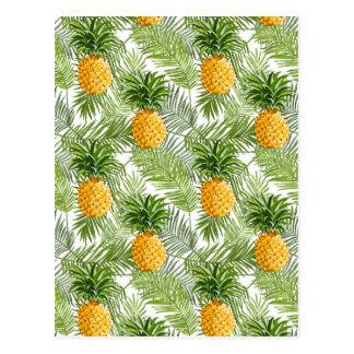 Cartão Postal Folhas de palmeira & abacaxis tropicais