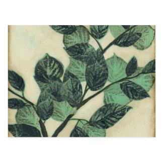 Cartão Postal Folhas e ramos no fundo de creme