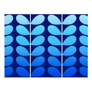 Cartão Postal Folhas, marinho e azuis cobaltos dinamarqueses do