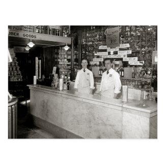 Cartão Postal Fonte de soda da farmácia, 1921
