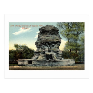 Cartão Postal Fonte, parque de Garfield, vintage de Chicago IL