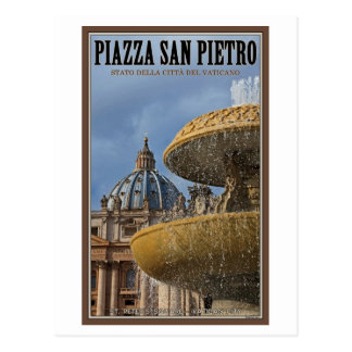 Cartão Postal Fonte quadrada da Cidade do Vaticano - St Peters
