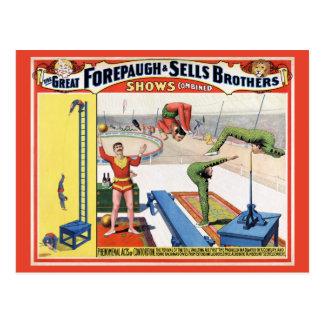 Cartão Postal Forepaugh & poster do circo do vintage dos irmãos
