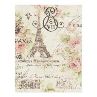 Cartão Postal Forma floral feminino de Paris do vintage elegante