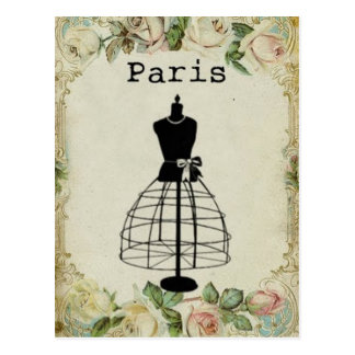 Cartão Postal Formulário do vestido da forma de Paris do vintage